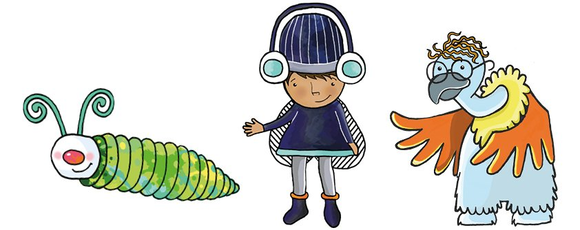 A picture of the three illustrated characters from the Eye Health Programme.