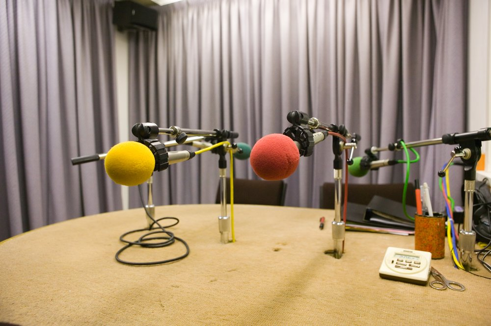 A picture of two microphones in Vista's recording studio.