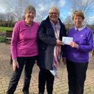 Kathy Carter & Elaine Wesley (purple top) presenting the cheque to Lisa Harrison-Byrne (Vista)