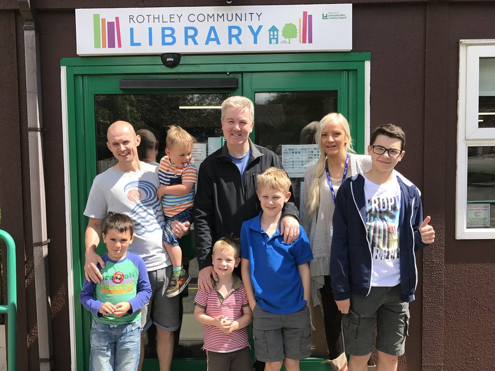A picture of Rothley residents Toby Stephenson, age 8, Jo Seward, age 12, Bentley Stephenson, age 3, Jo Sykes, age 5, Reuben Sykes, age 2, Mr Stephenson and Mr Sykes, and Penny Bailey, Vista's Shop Manager at Rothley.