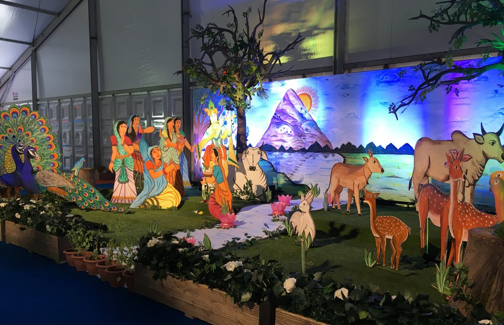 A picture of a colourful display at the Krishna Speaks festival.