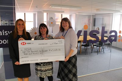 Vista CEO Susan and director of income generation with HSBC representative handing across the giant cheque
