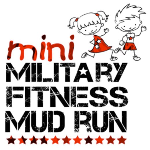 An animated picture of two children running, titled 'Mini military fitness mud run.'