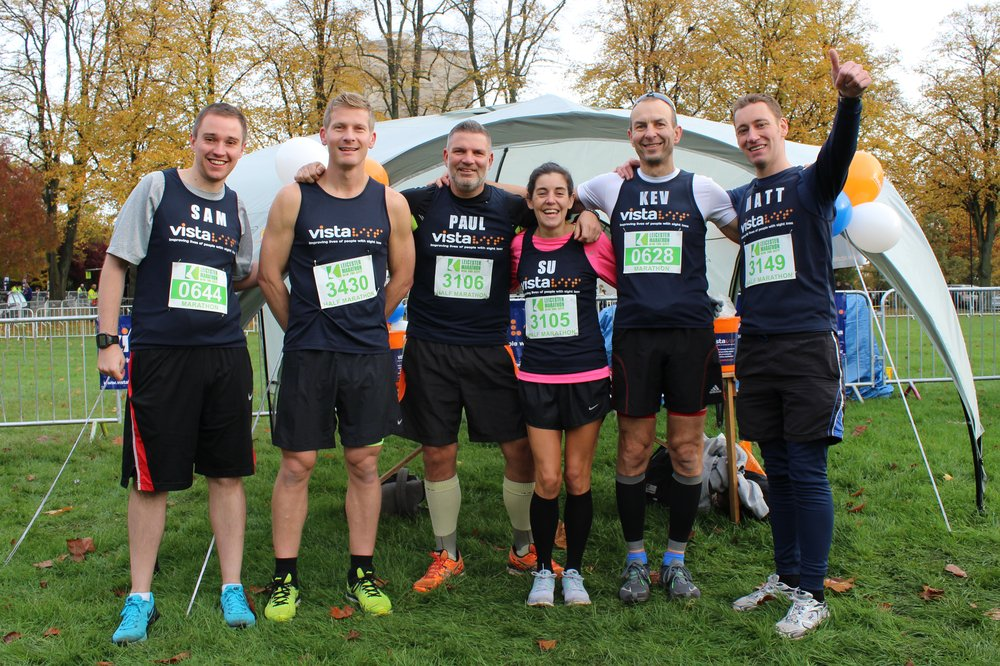 A picture of six of Vista's Leicester Marathon runners before the marathon.