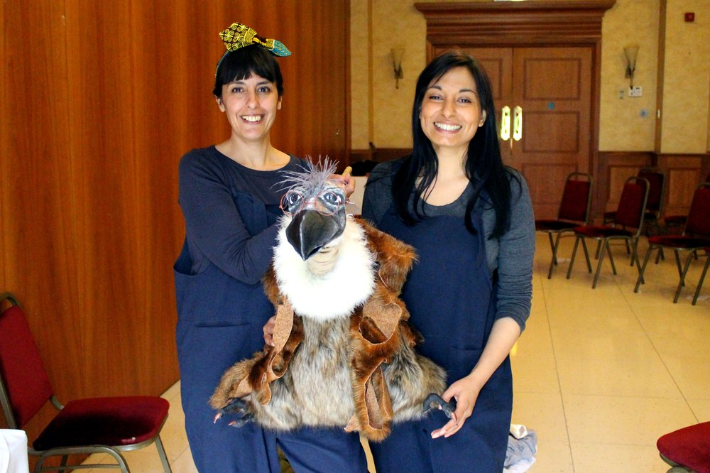 A picture of Parmjit and a Drama Practitioner with Vern the Vulture.