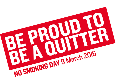 An animated picture that says 'Be proud to be a quitter - No Smoking Day 9 March 2016.'