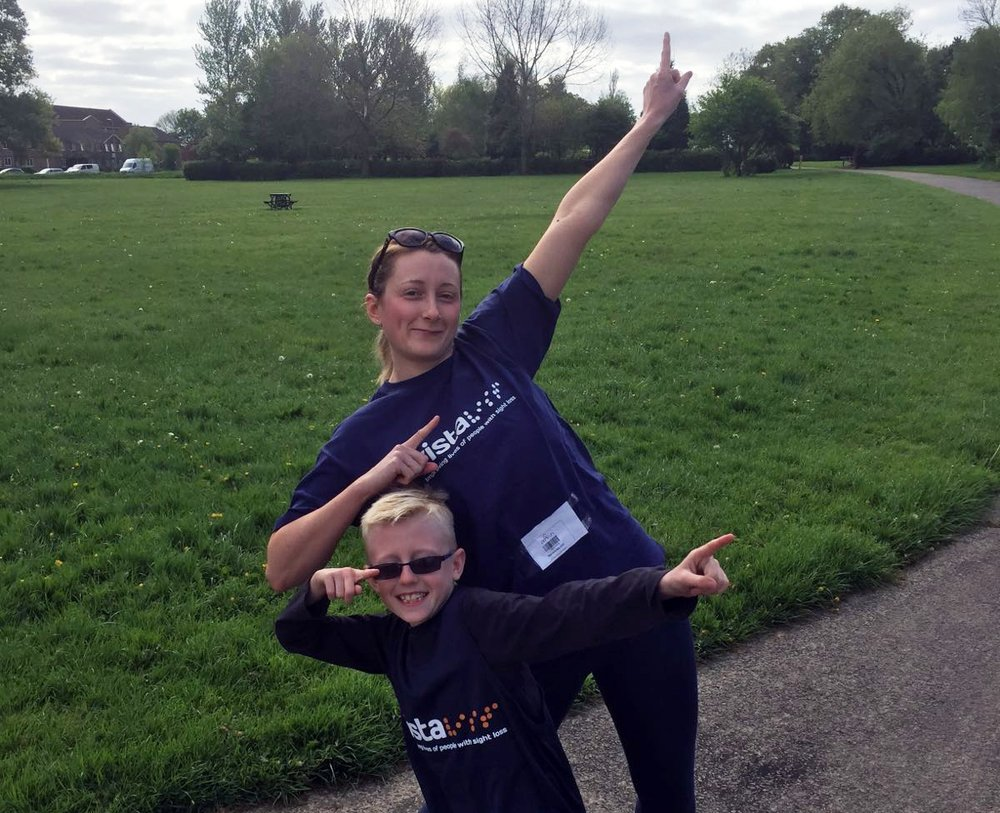 A picture of Spencer with his mum Becci in Vista t-shirts at Braunstone Park.
