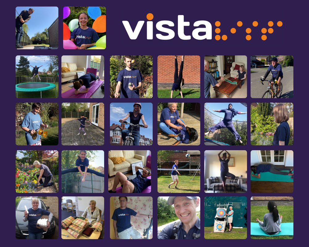 A picture of people doing fundraising activities for Vista in Vista t-shirts.