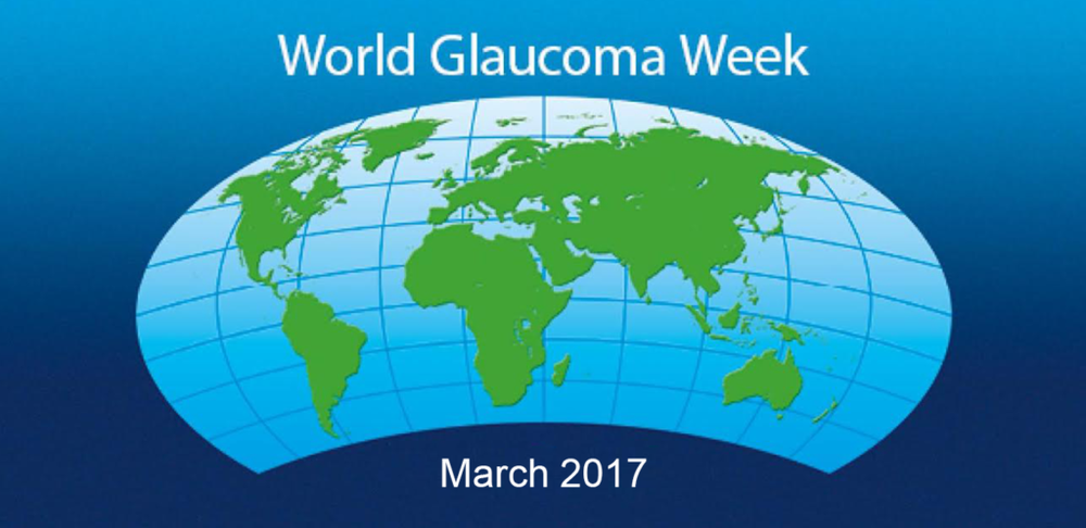 An animated picture of a world map, titled 'World Glaucoma Week.'