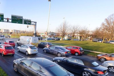 A picture of traffic backed up around Fosse Park