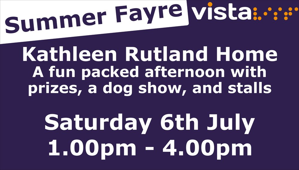 Vista Summer Fayre. Kathleen Rutland Home. A fun packed afternoon with prizes, a dog show, and stall.