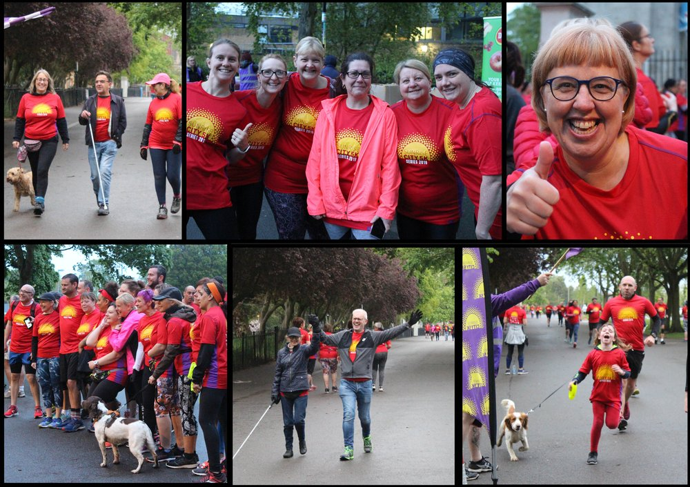 A collage of photos from Sunrise, with people crossing the finishing line